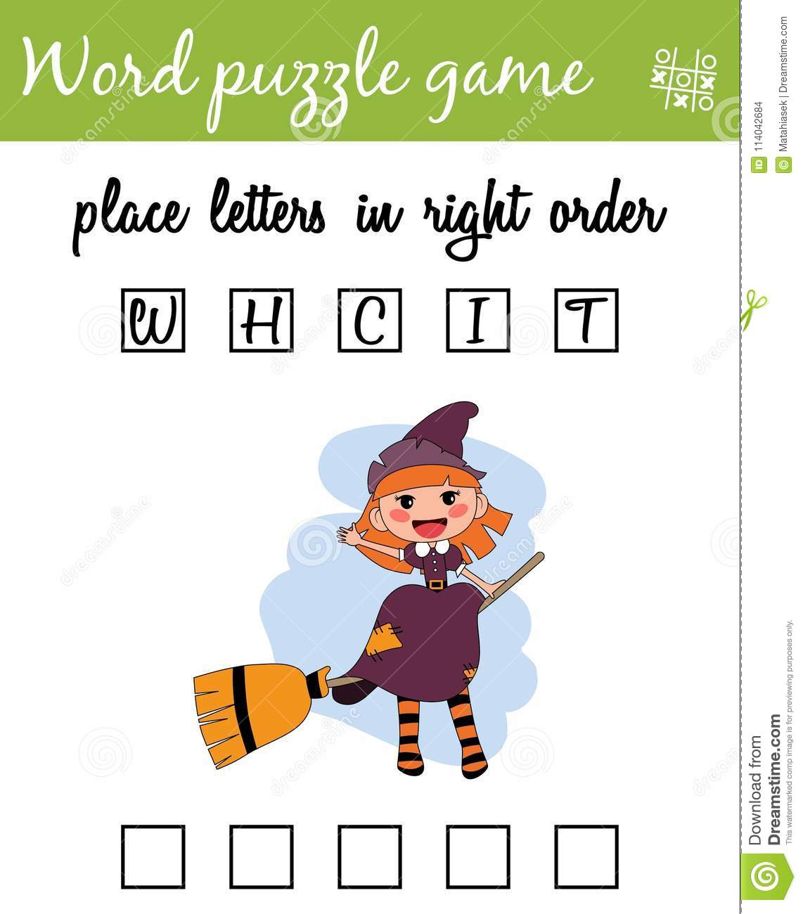 Words Puzzle Game With Witch Place The Letters In Right