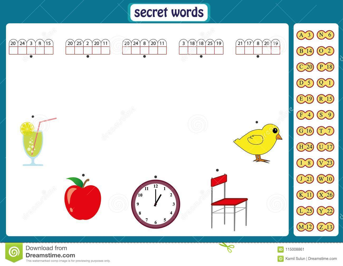 Words Puzzle For Kids Educational Game With Numbers Code