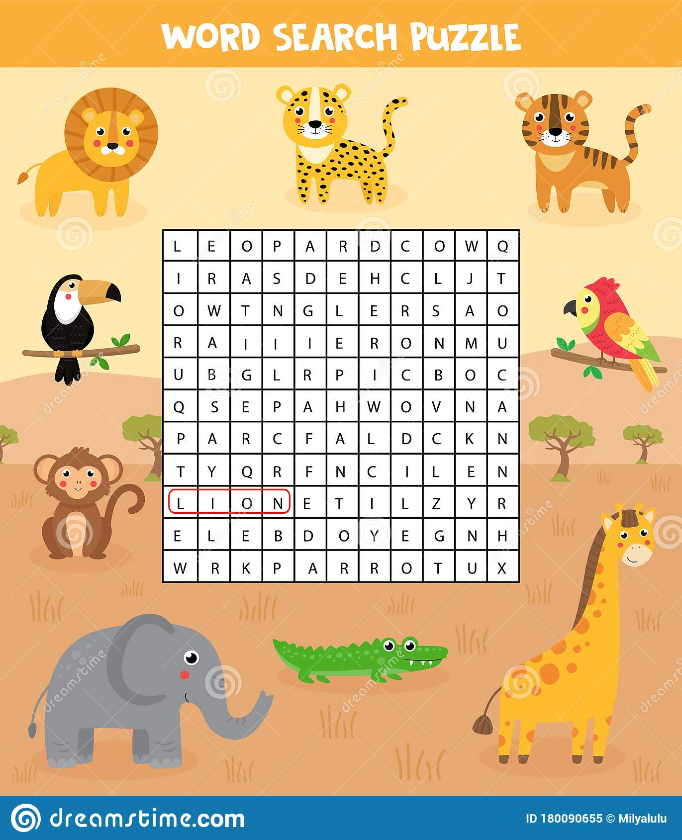 Words Search Puzzle For Children Set Of Safari Animals
