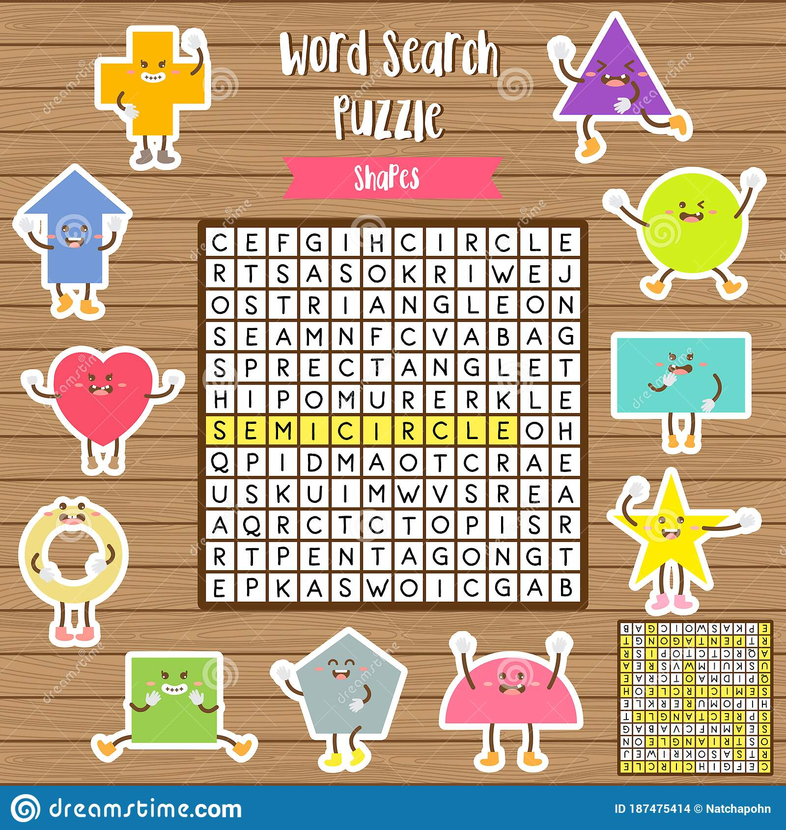 Words Search Puzzle Game Of Shapes For Preschool Kids