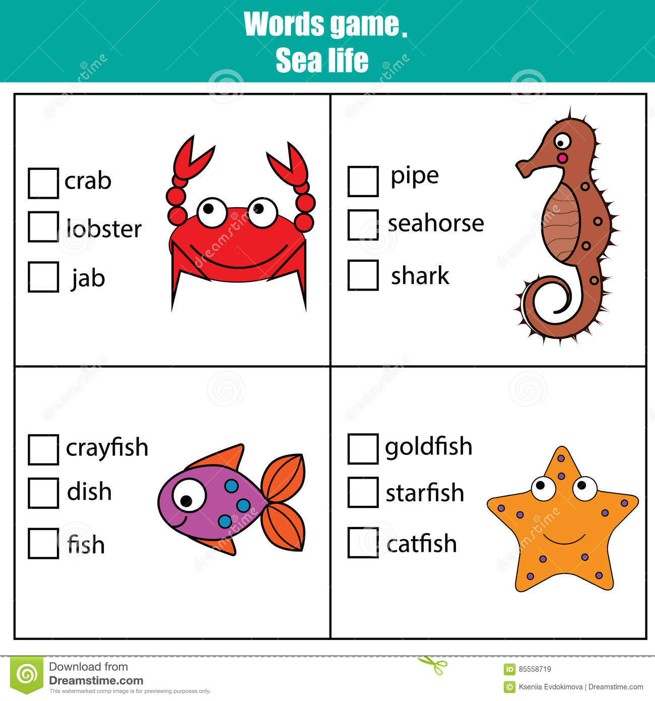 Words Test Educational Game For Children Sea Animals Theme Stock Vector