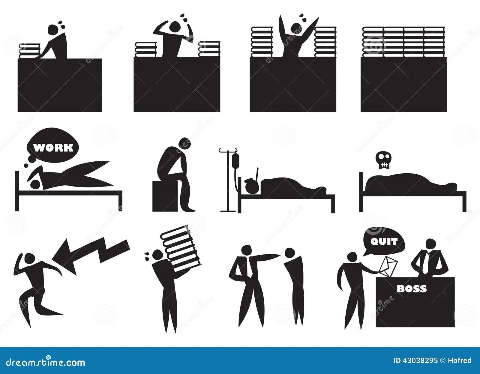 Work Stress Icon Man Set Stock Vector Illustration Of