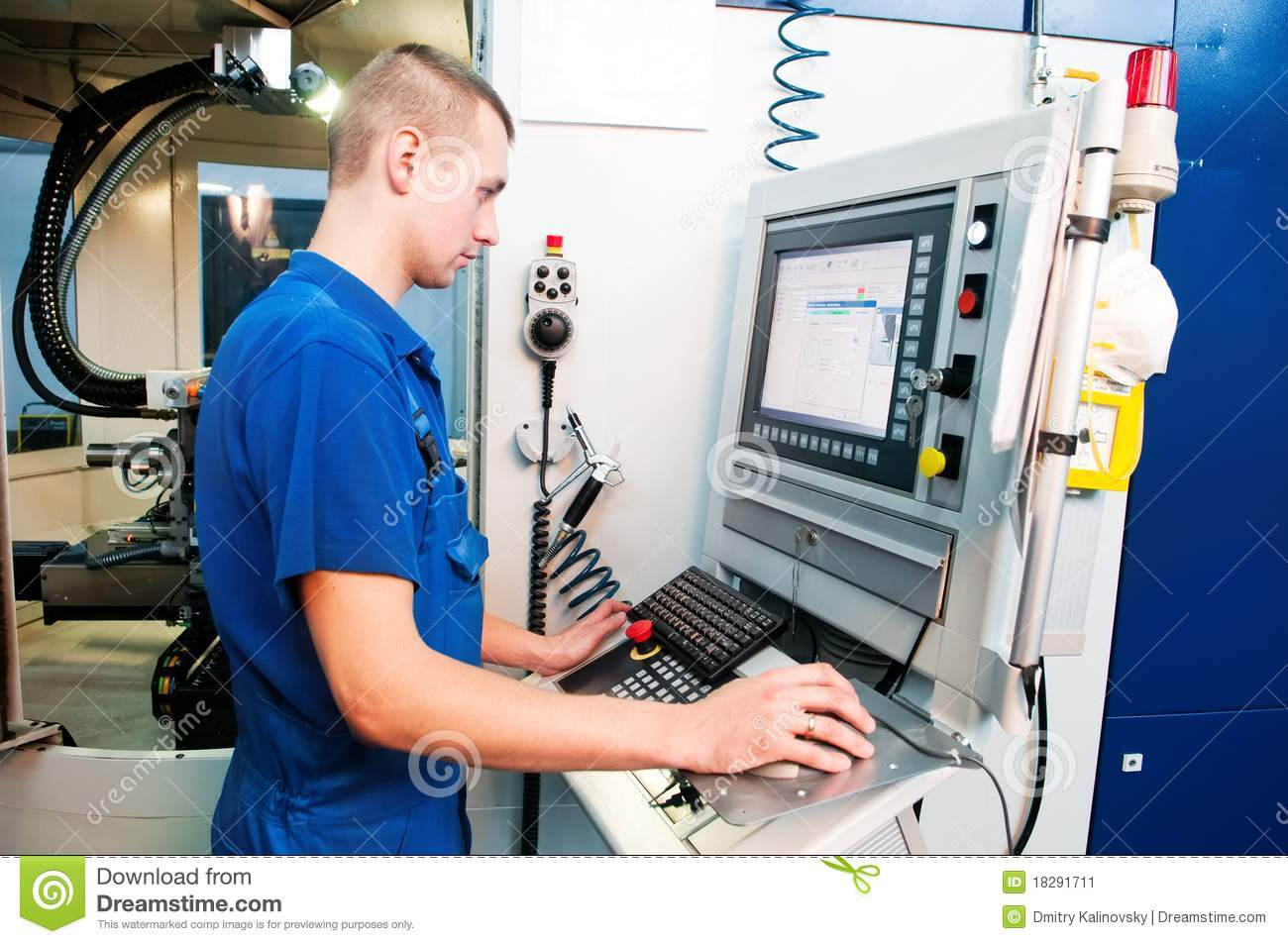 Worker Operating CNC Machine Center Stock Image  Image 18291711