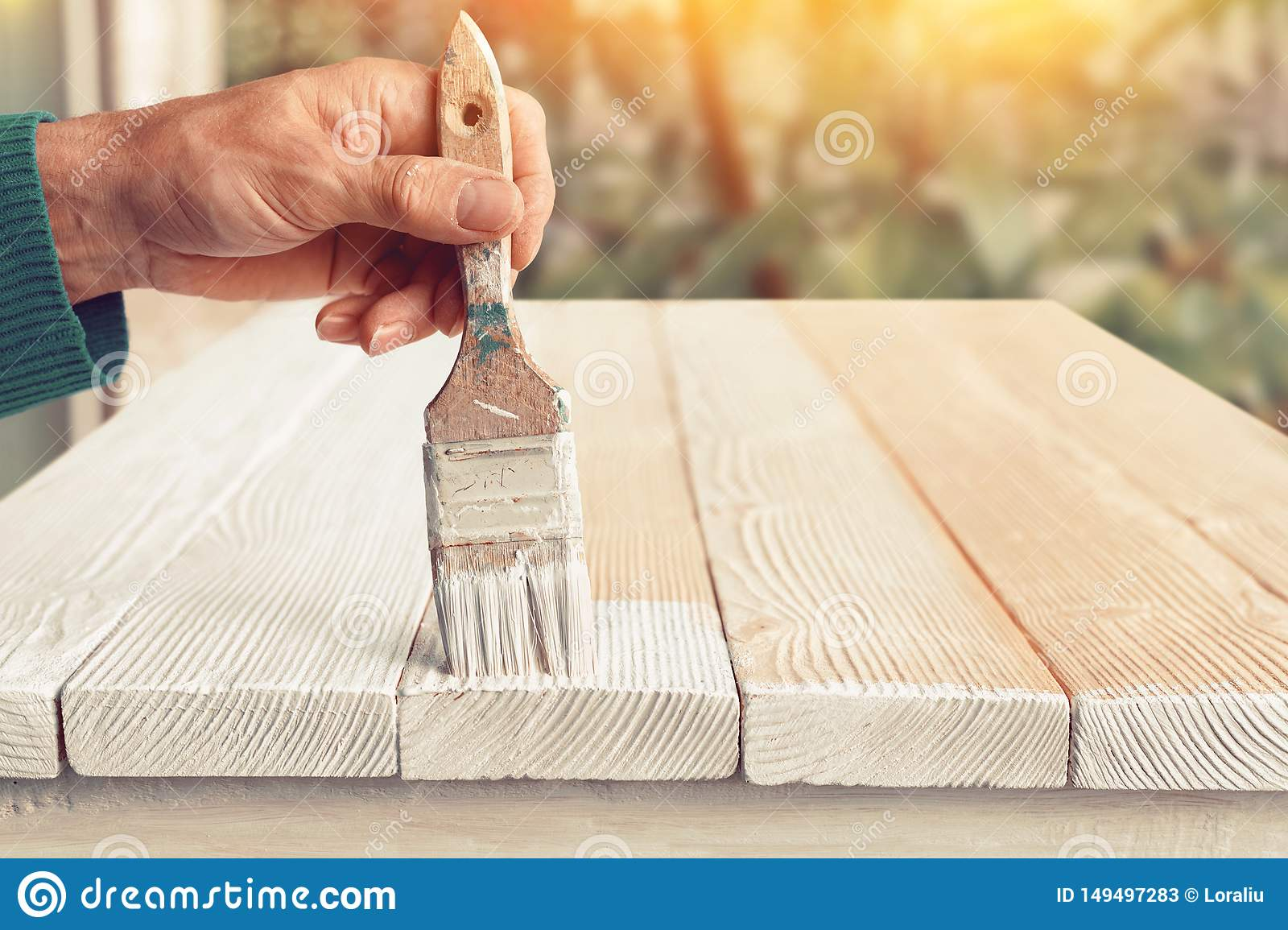 Worker Painting White Wooden Furniture Outdoor Stock Image Image Of Holding Natural 149497283