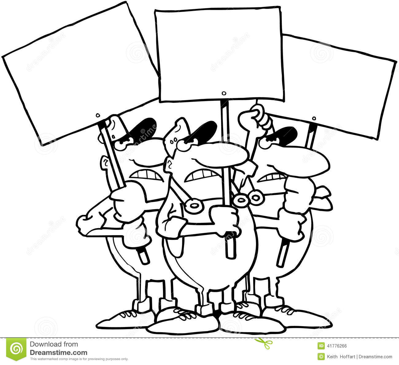 Workers With Signs Cartoon Vector Clipart Stock Vector