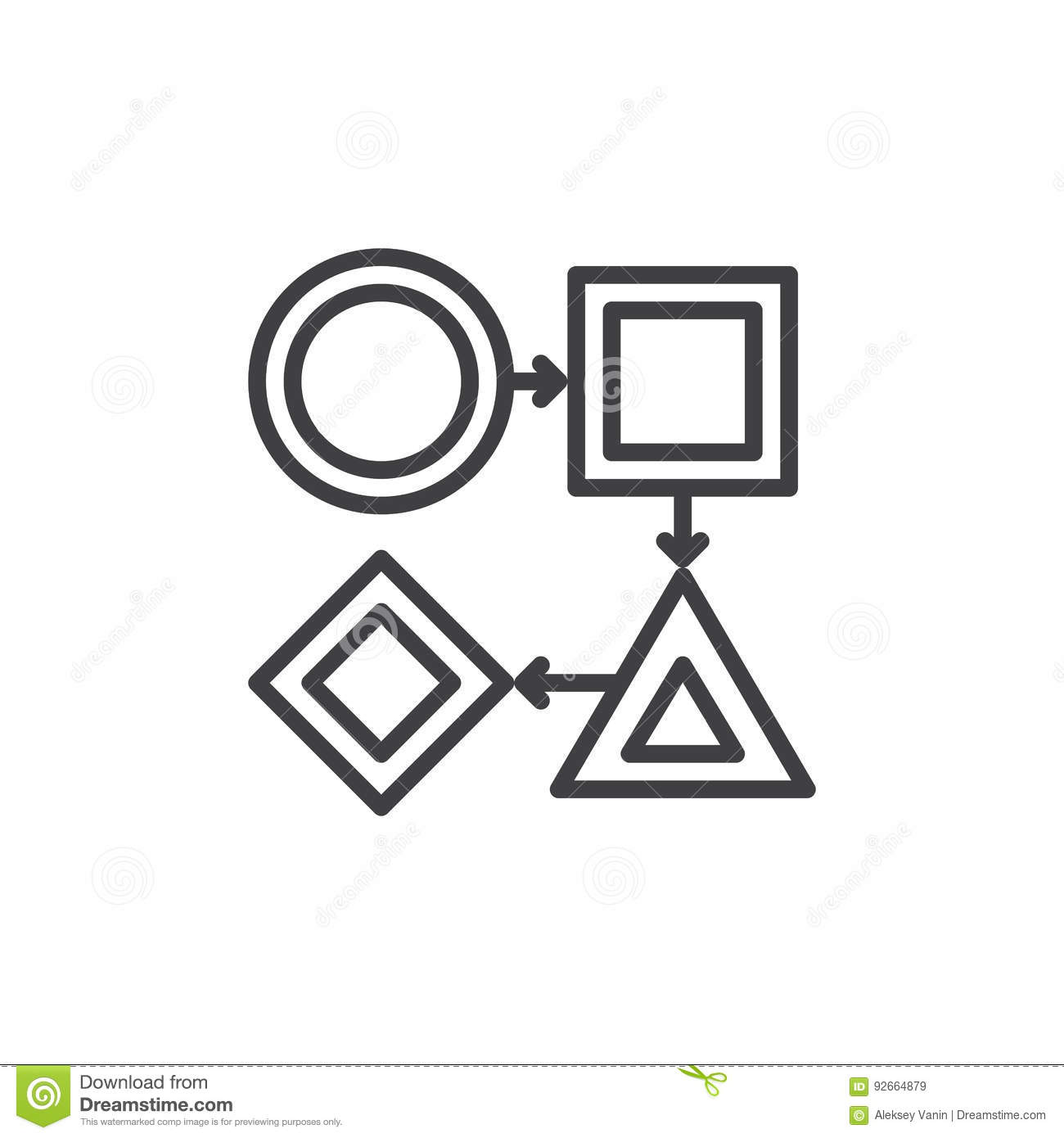 Workflow Line Icon Outline Vector Sign Linear Style