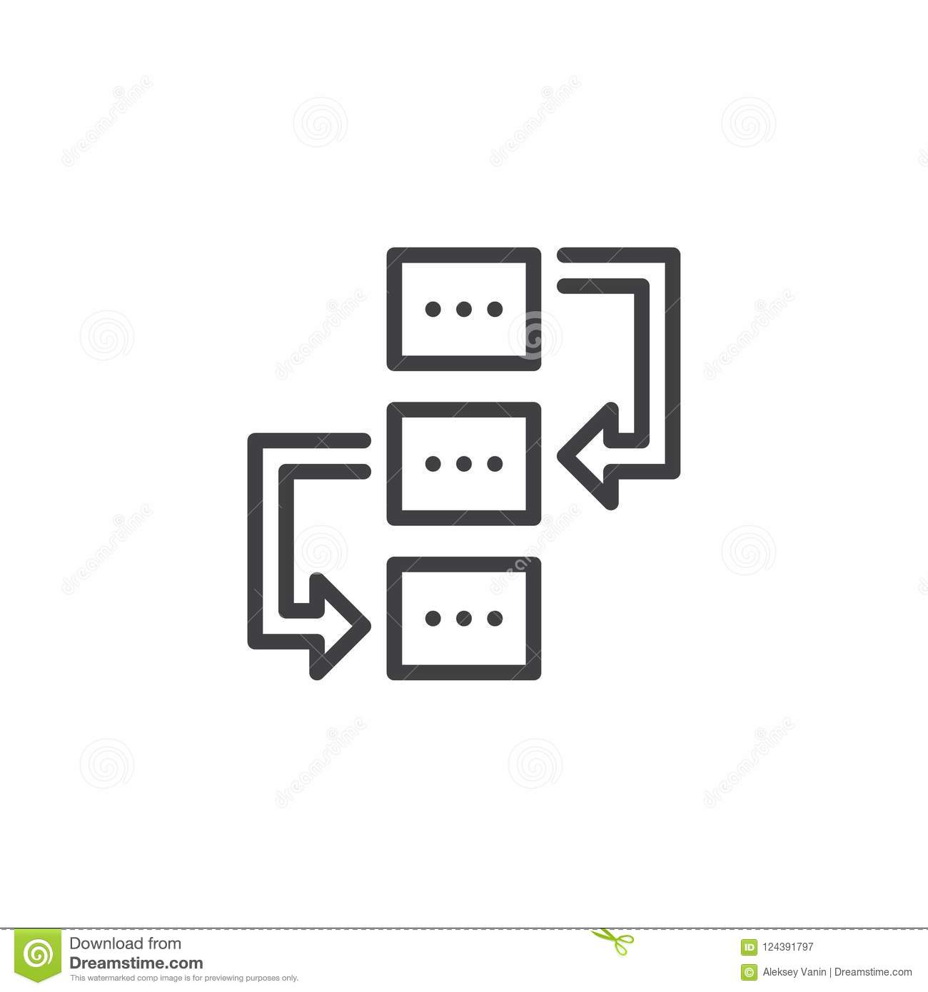 Workflow Outline Icon Stock Vector Illustration Of Graphics