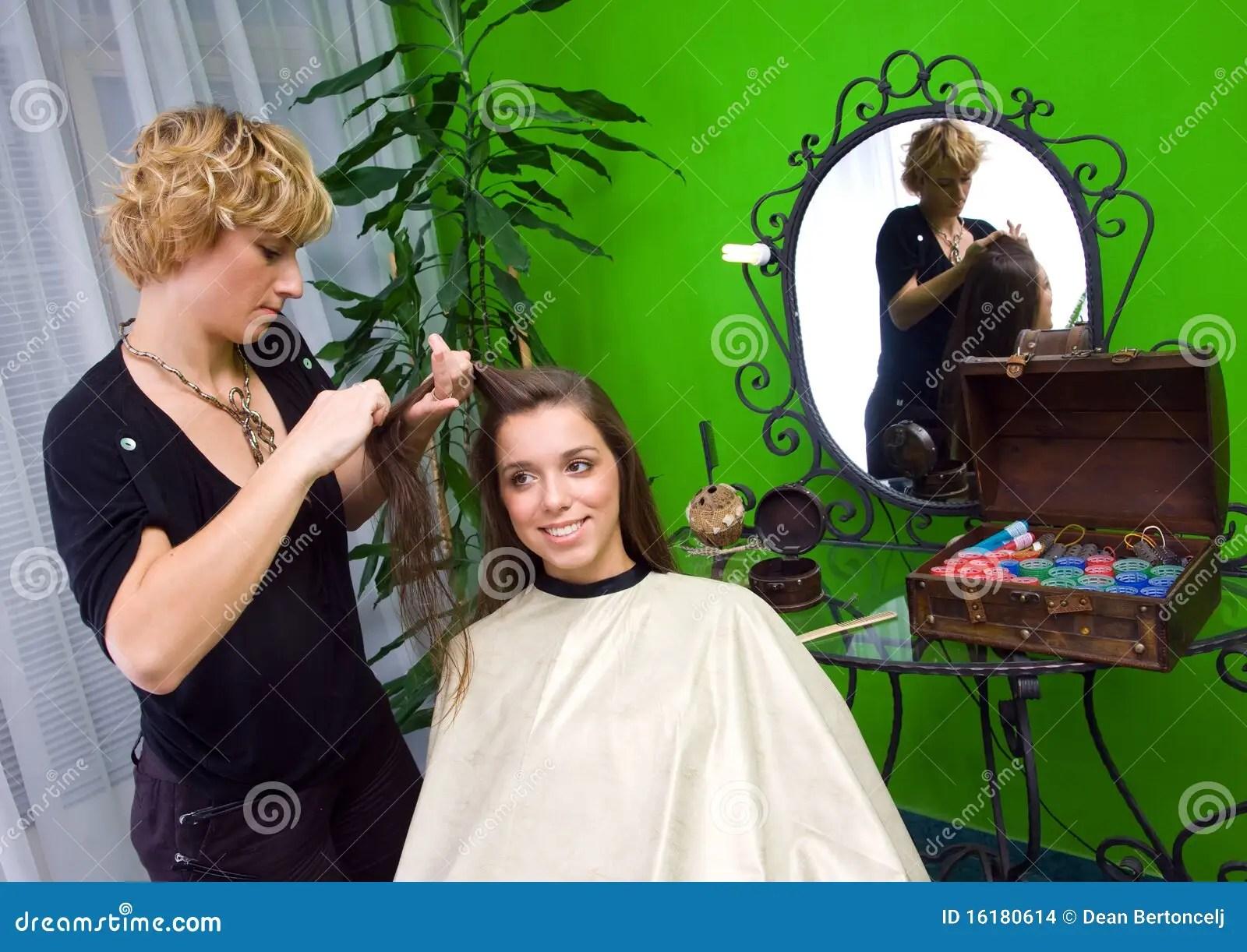 Working Scene From Hair Salon Stock Photo  Image 16180614