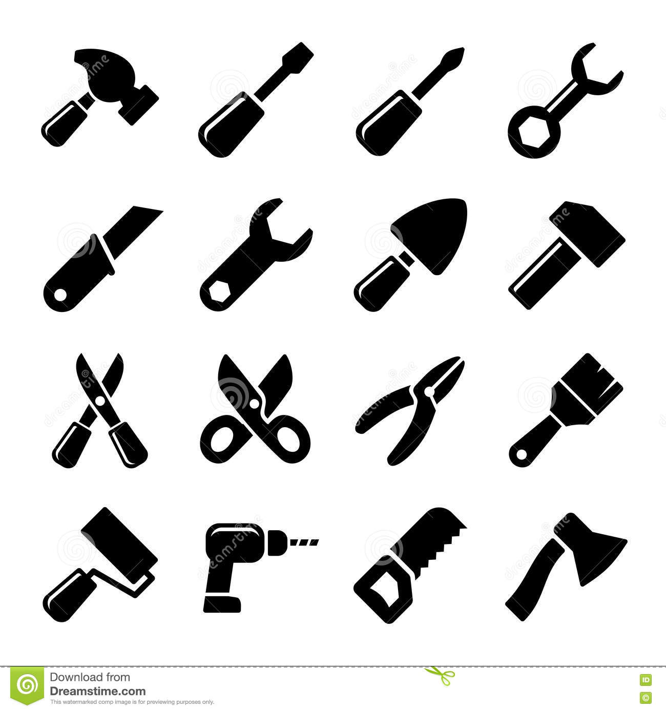 Working tools icon set stock vector. Illustration of