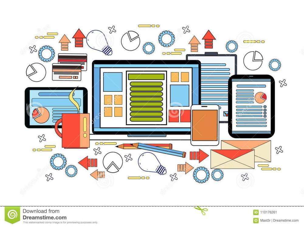 medium resolution of workplace desk concept business work desktop with laptop computer diagrams and documents on digital tablets vector illustration