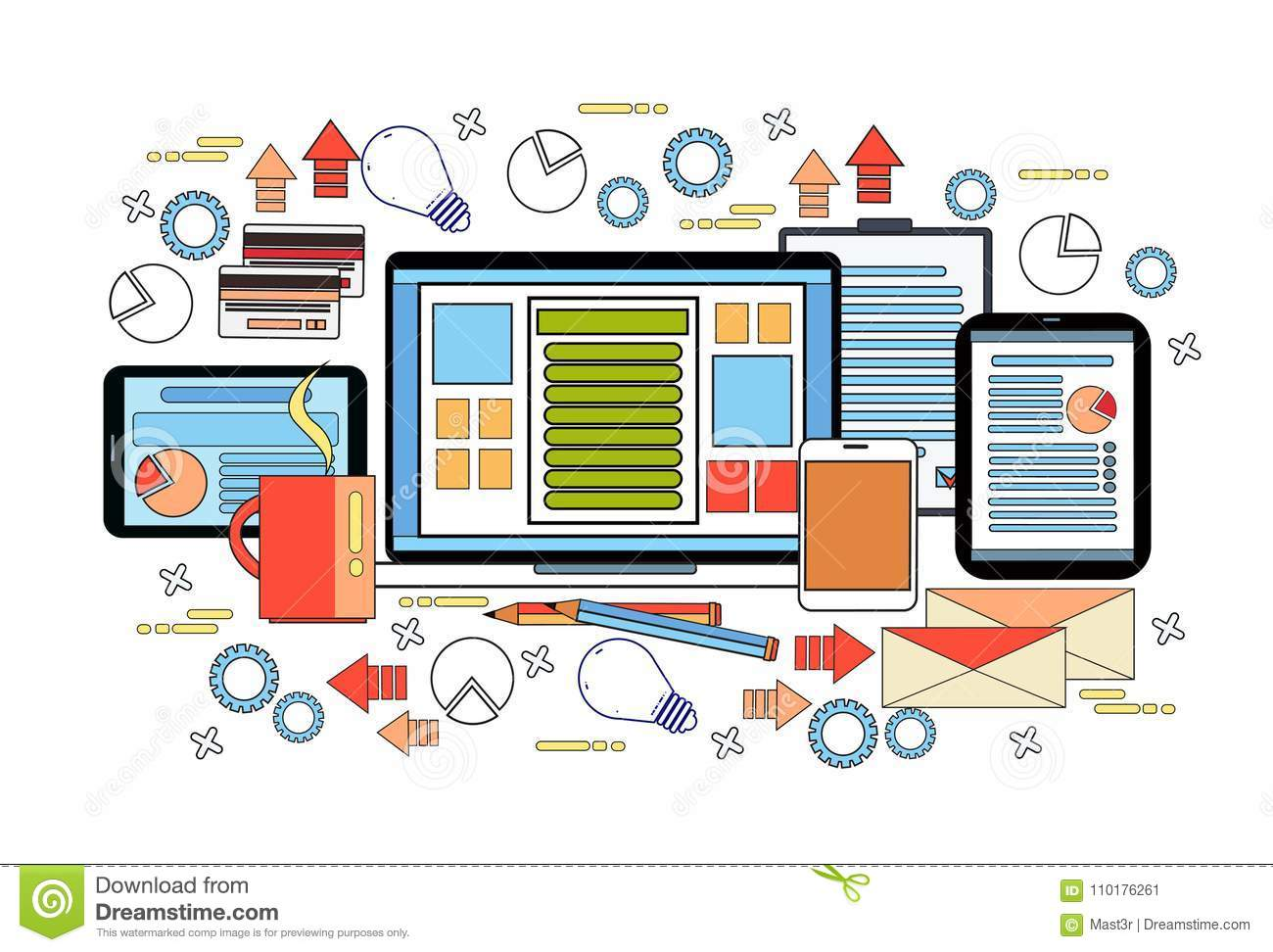 hight resolution of workplace desk concept business work desktop with laptop computer diagrams and documents on digital tablets vector illustration