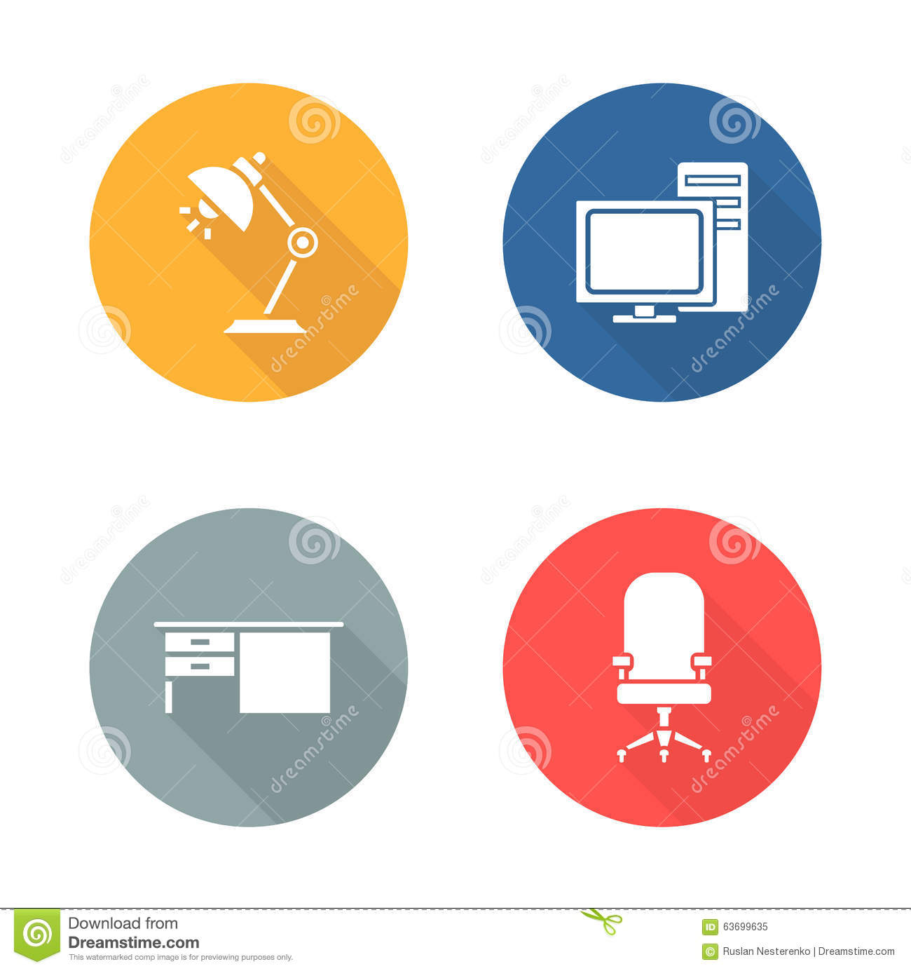 computer desk and chair set back massagers for chairs workplace flat design icon stock vector - image: 63699635