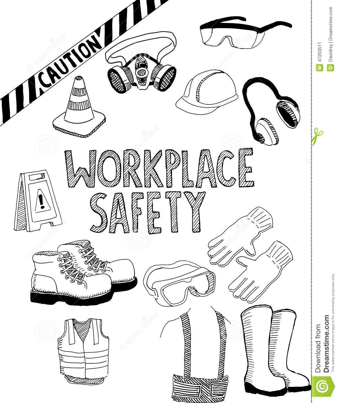 Workplace Safety Gear Stock Vector Illustration Of