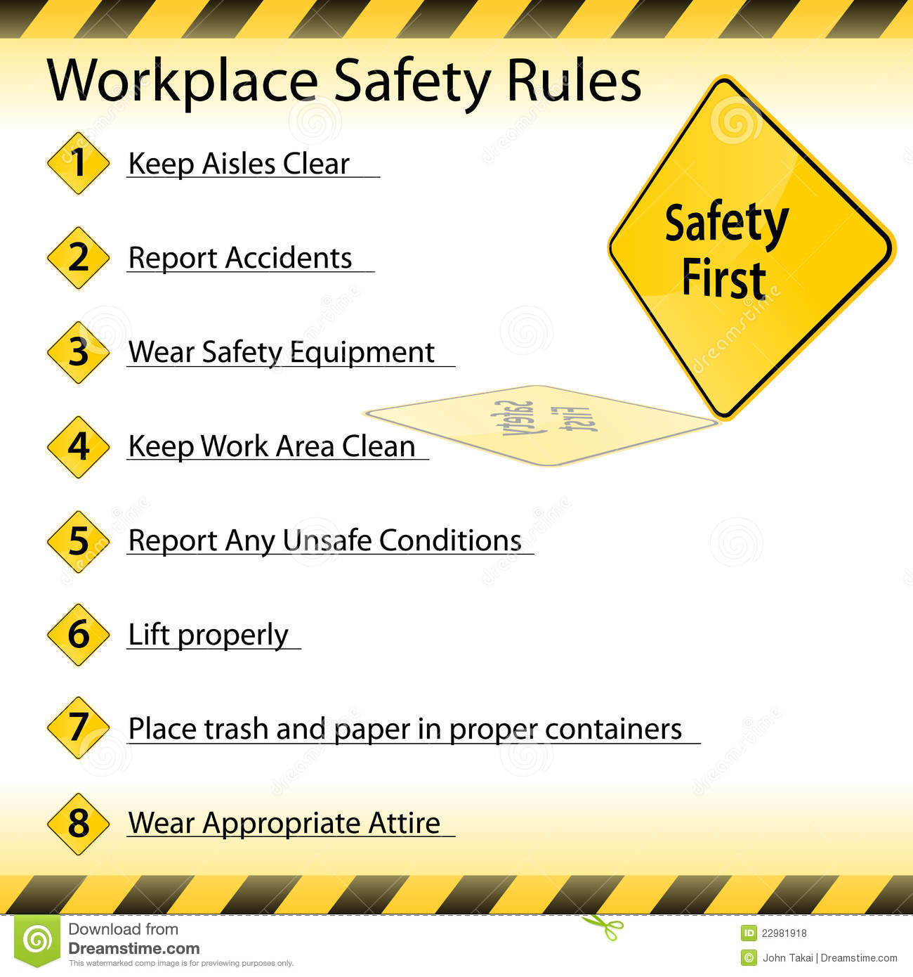 Workplace Safety Rules Stock Vector Illustration Of