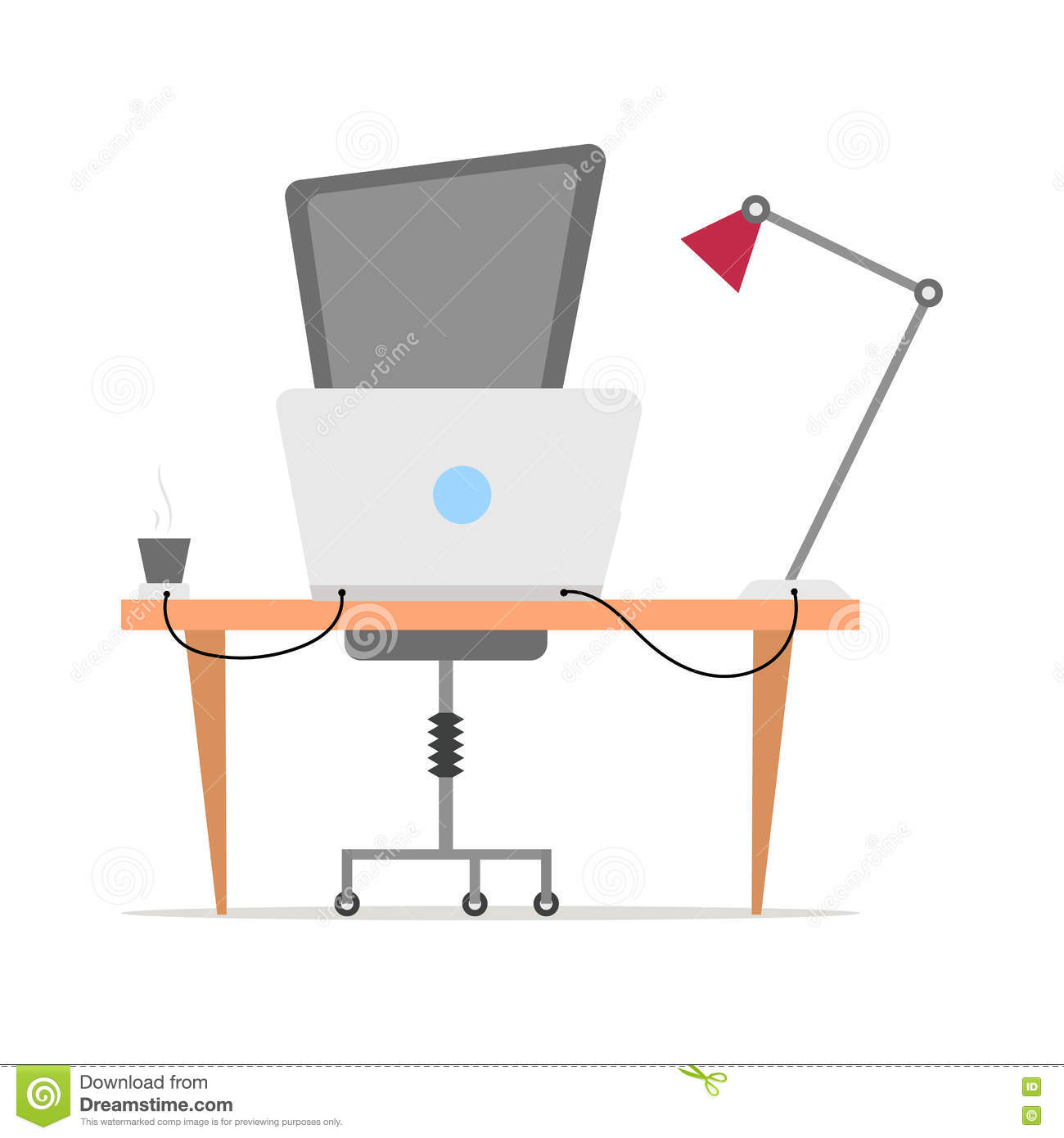office chair illustration hanging egg workplace vector in flat style modern