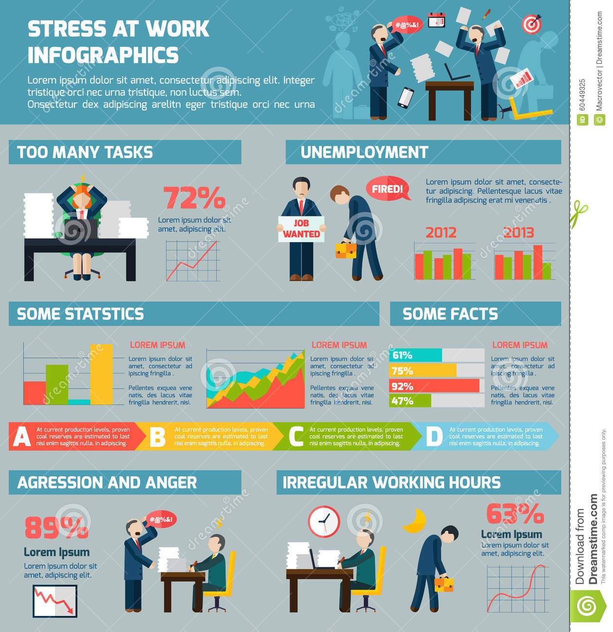 Workrelated Stress And Depression Infographic Stock Vector