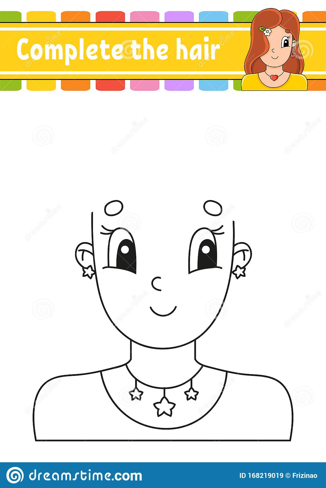 Worksheet Complete The Picture Draw Hair Cheerful
