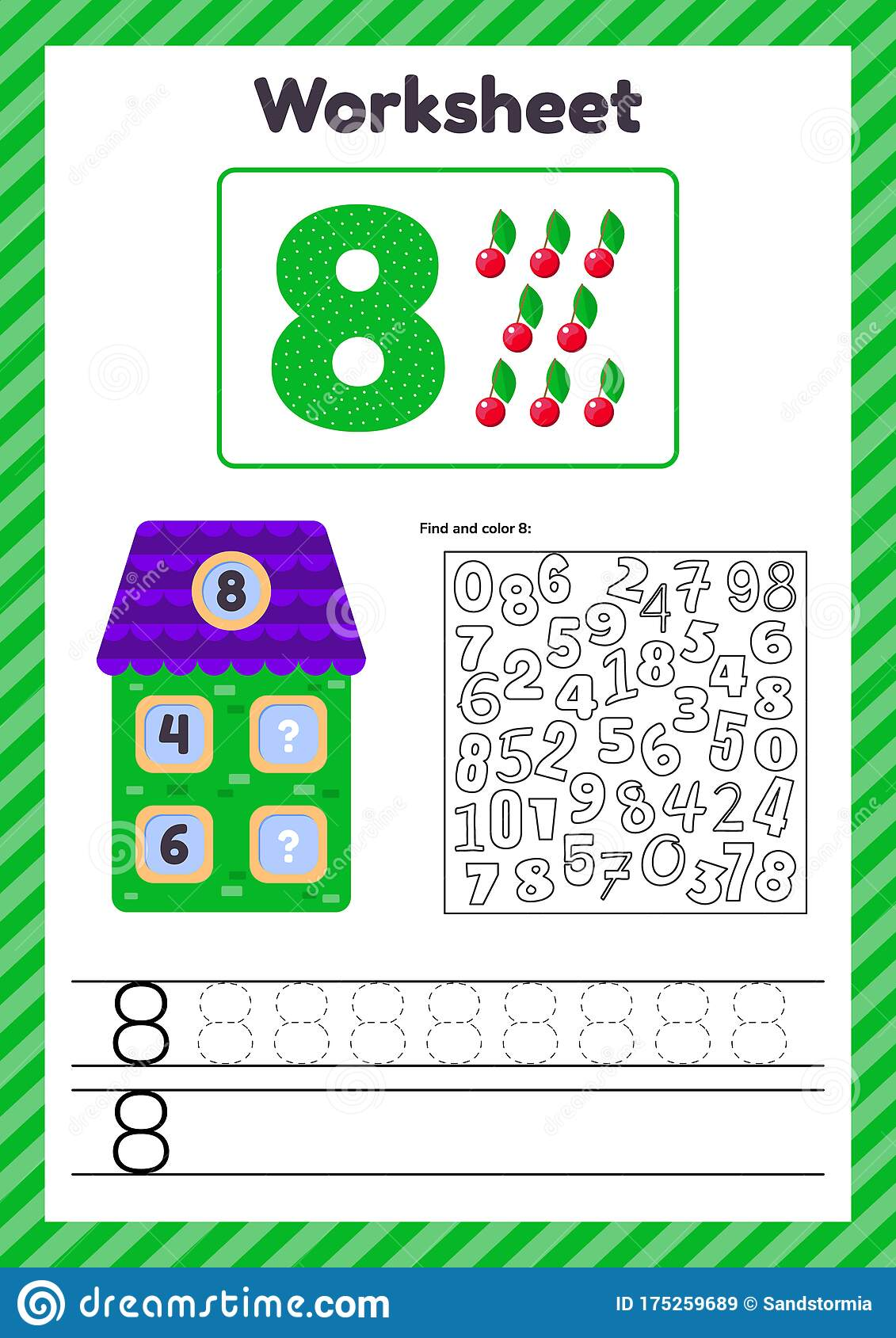 hight resolution of Worksheet Count For Kids. House. Number Bonds. Trace Line. The Study Of  Mathematics For Children Of Kindergarten Stock Vector - Illustration of line