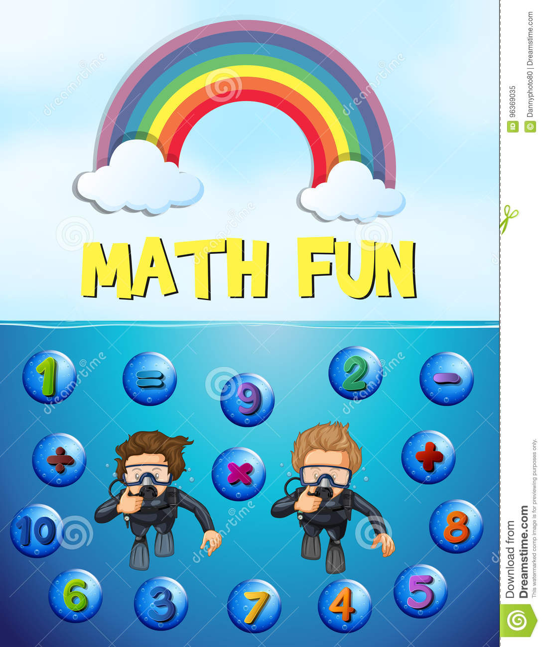 Worksheet Design For Math With Underwater Background Stock