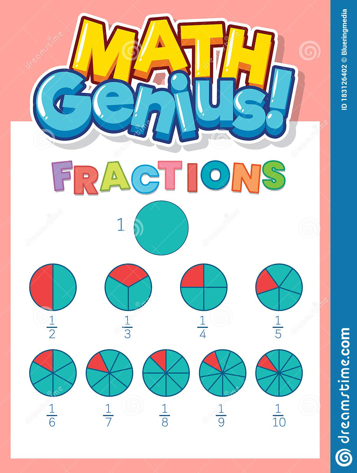 Worksheet Design Template For Fractions With Pink