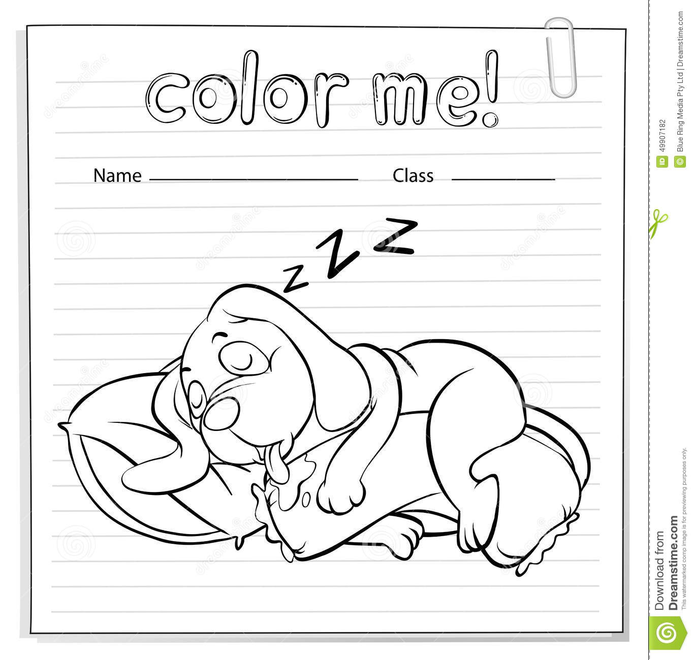 A Worksheet With A Dog Sleeping Stock Vector