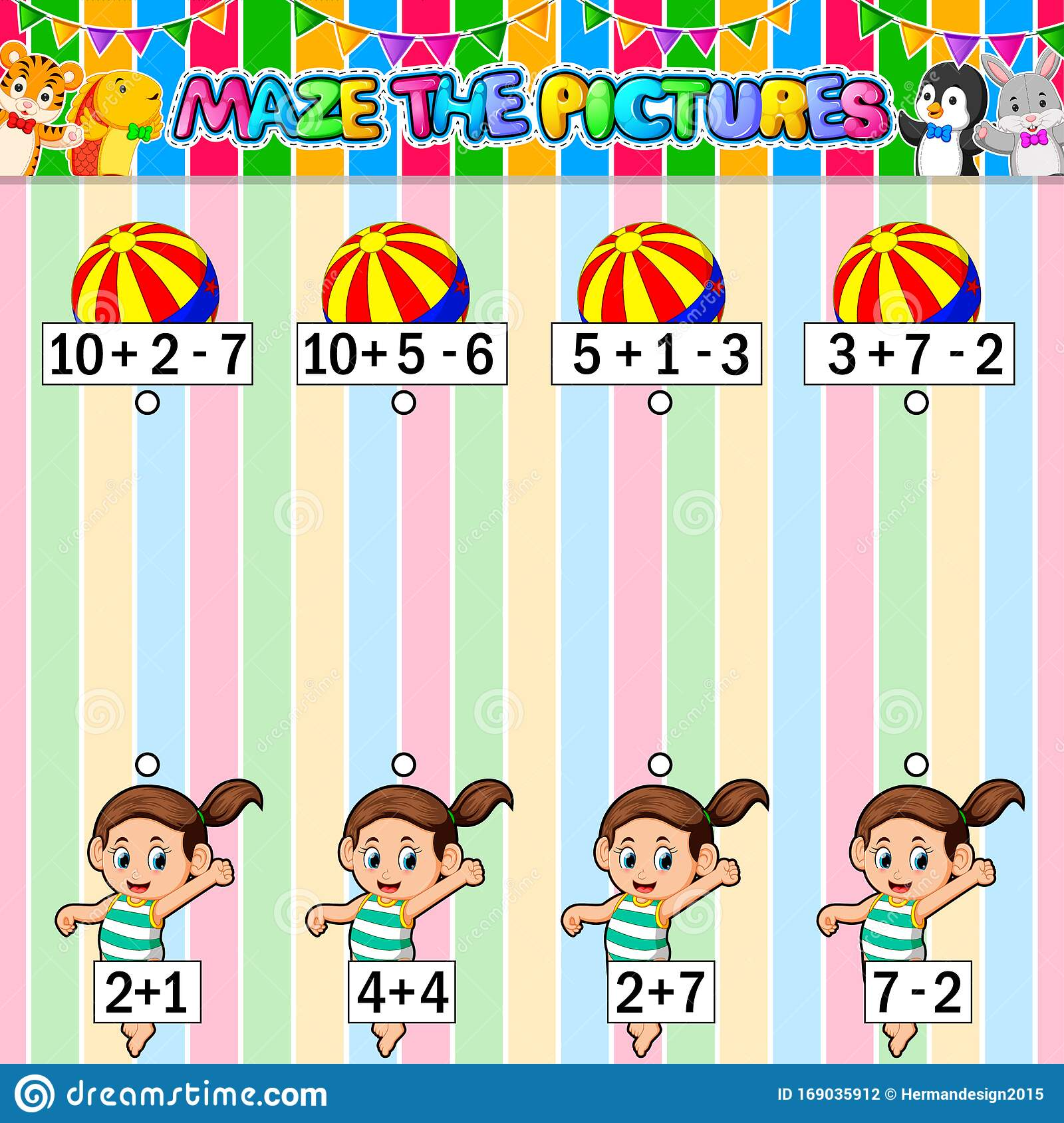 Worksheet With Exercises For Children On Addition And