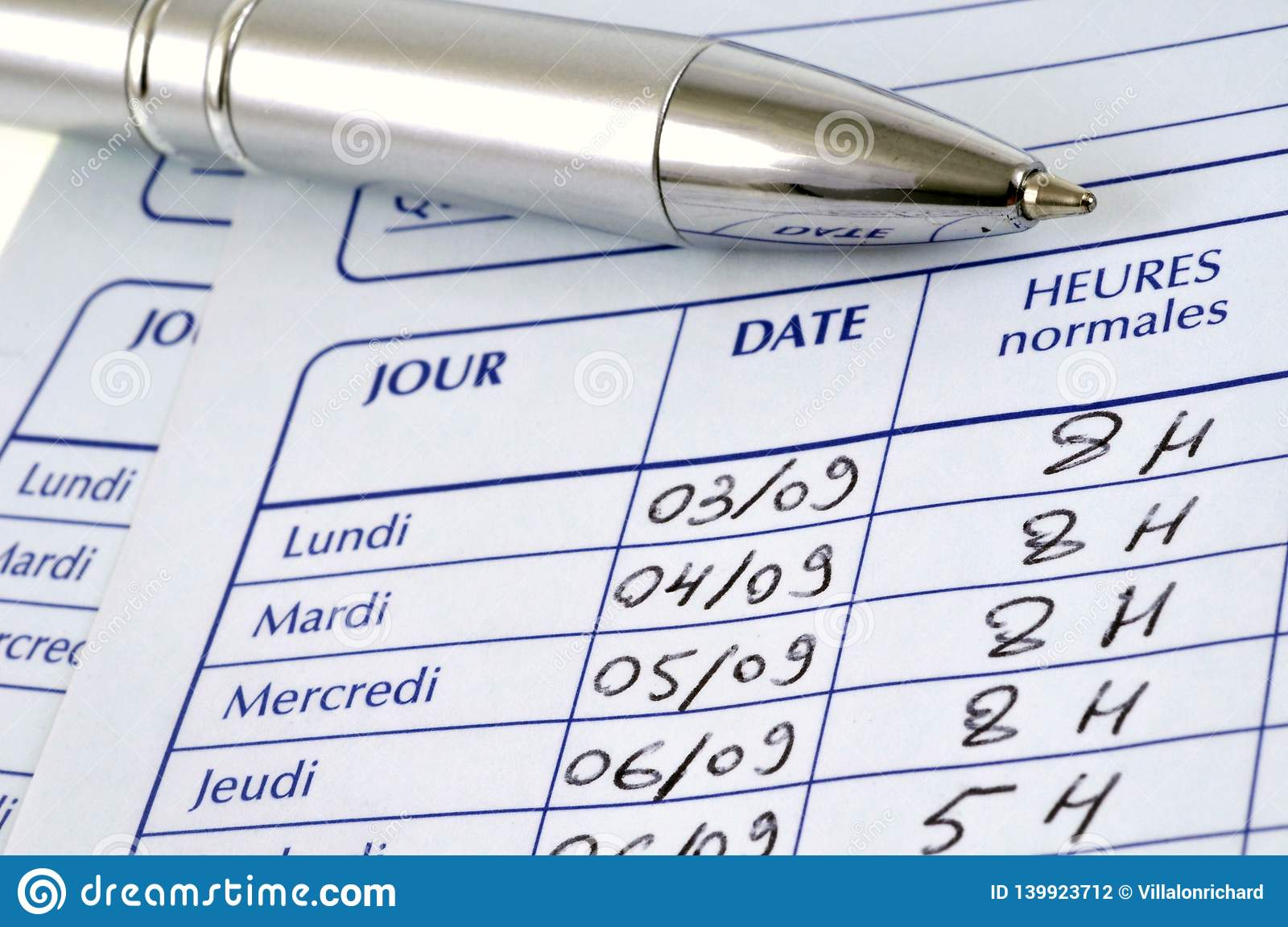 Worksheet In French In Close Up Stock Photo