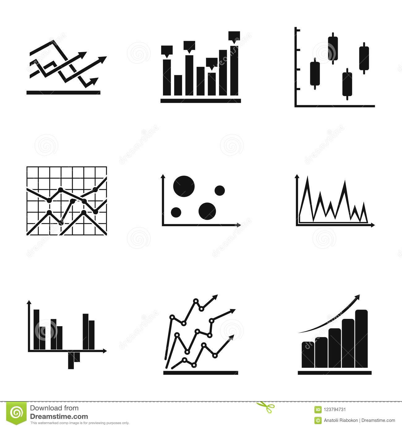 Worksheet Icons Set Simple Style Stock Illustration