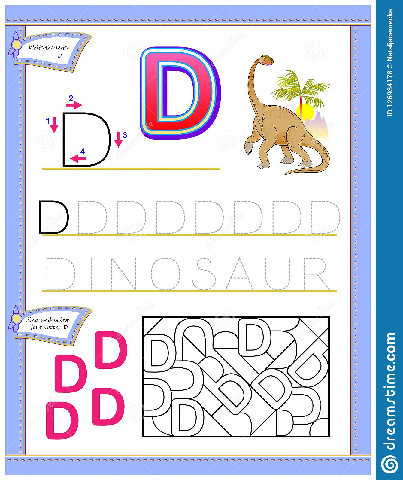 Worksheet For Kids With Letter D For Study English