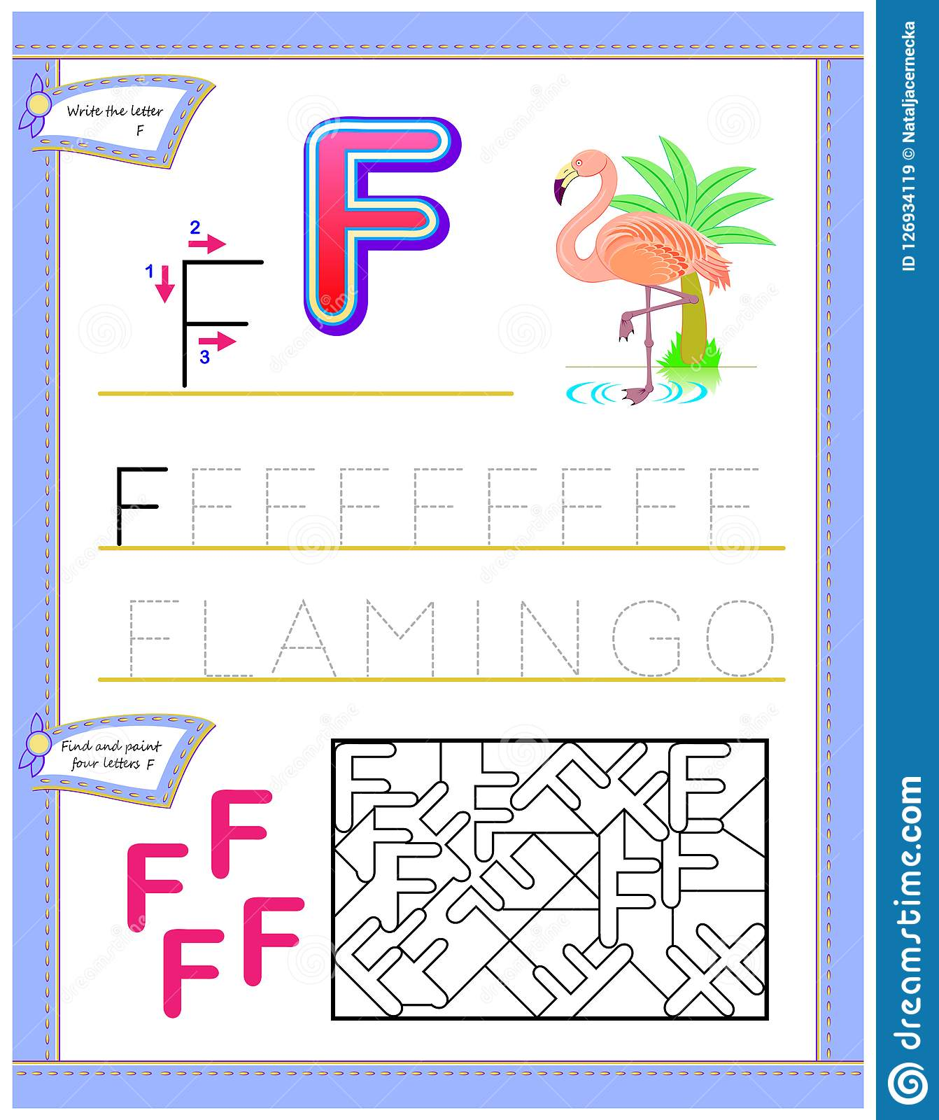 Worksheet For Kids With Letter F For Study English
