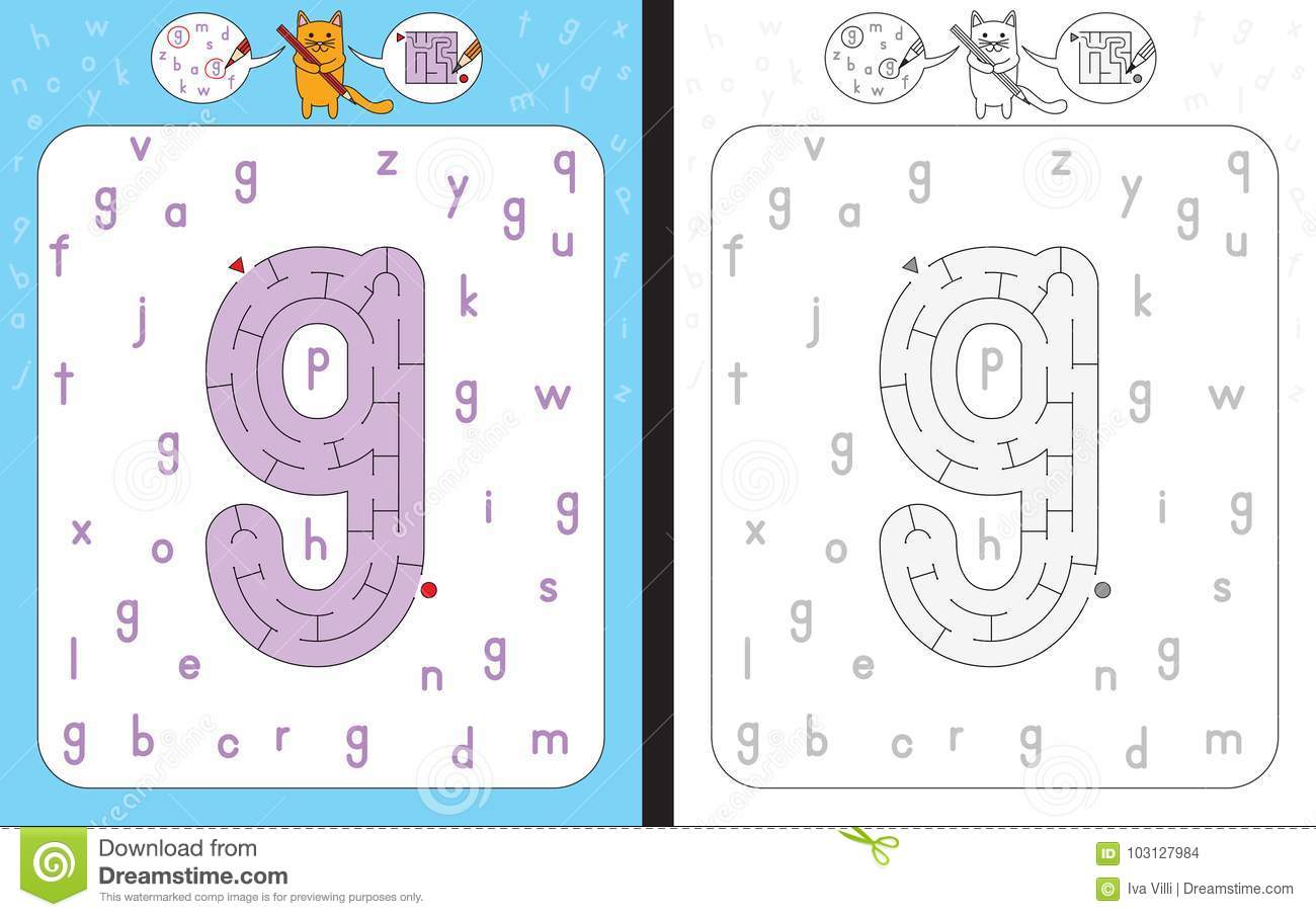 Maze Letter G Stock Vector Illustration Of Tracing