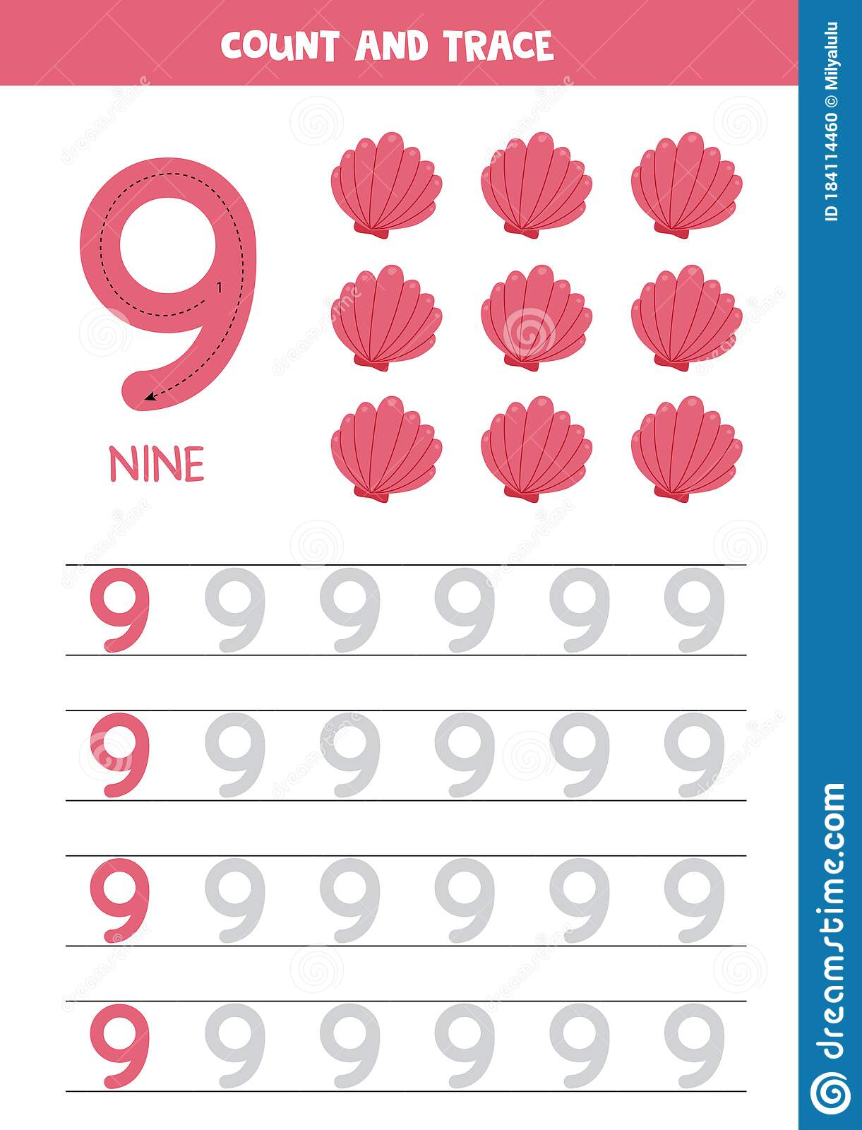 Worksheet For Learning Numbers With Cartoon Seashells