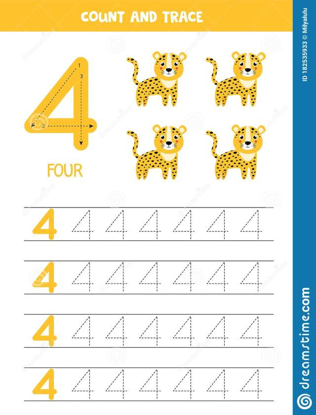 Worksheet for Learning Numbers with Cute Giraffe. Number Four