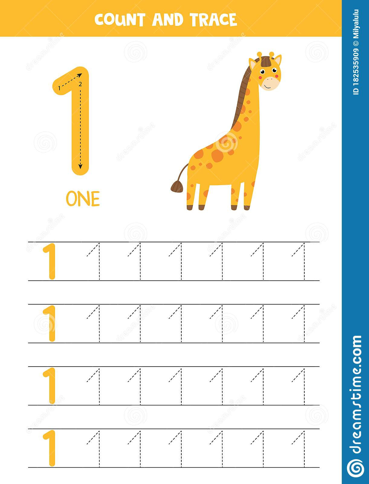 Worksheet For Learning Numbers With Cute Giraffe Number 1