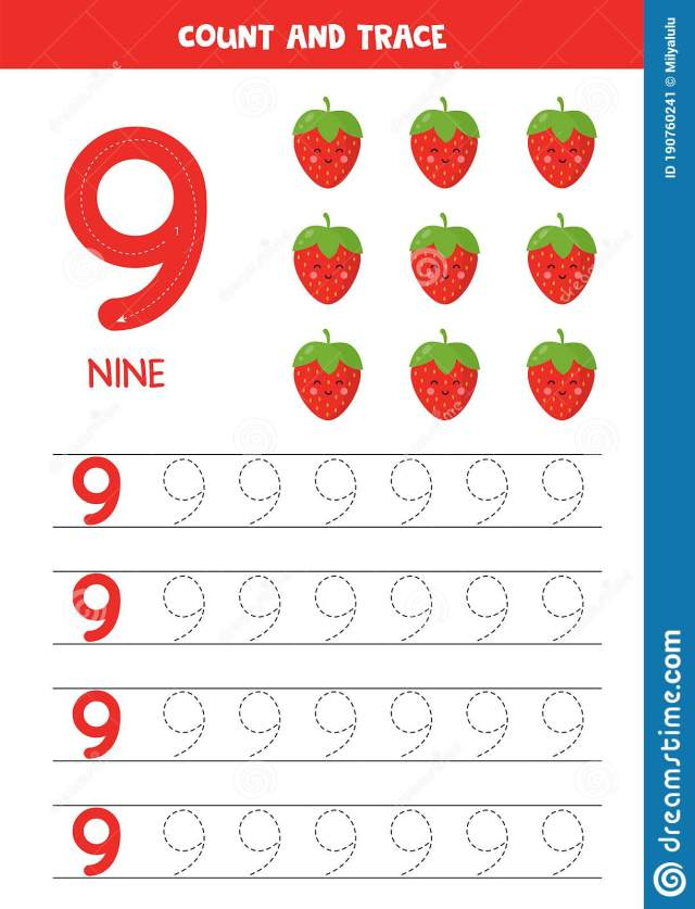 Worksheet For Learning Numbers With Cute Kawaii Strawberries