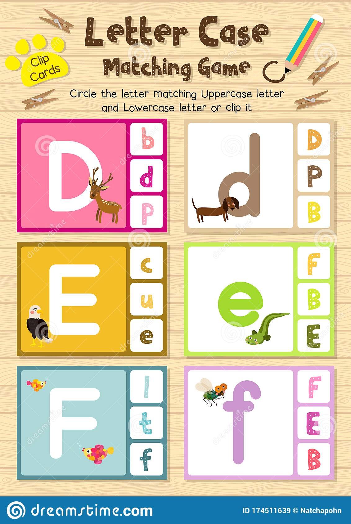 Worksheet Matching Letter Case Def Stock Vector