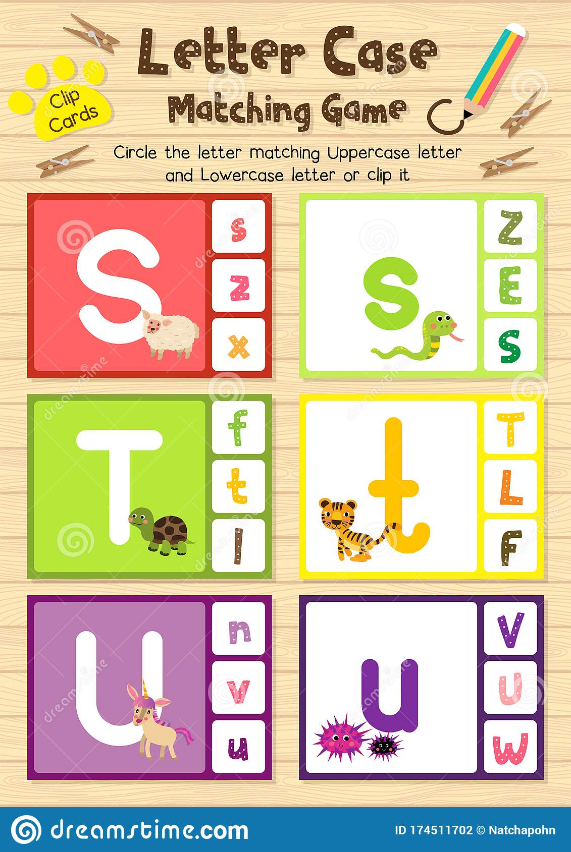 Worksheet Matching Letter Case Stu Stock Vector