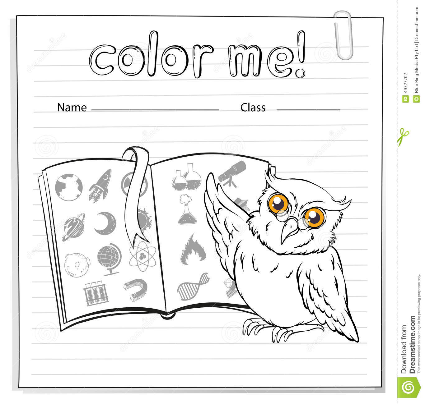A Worksheet Showing An Owl And A Book Stock Vector
