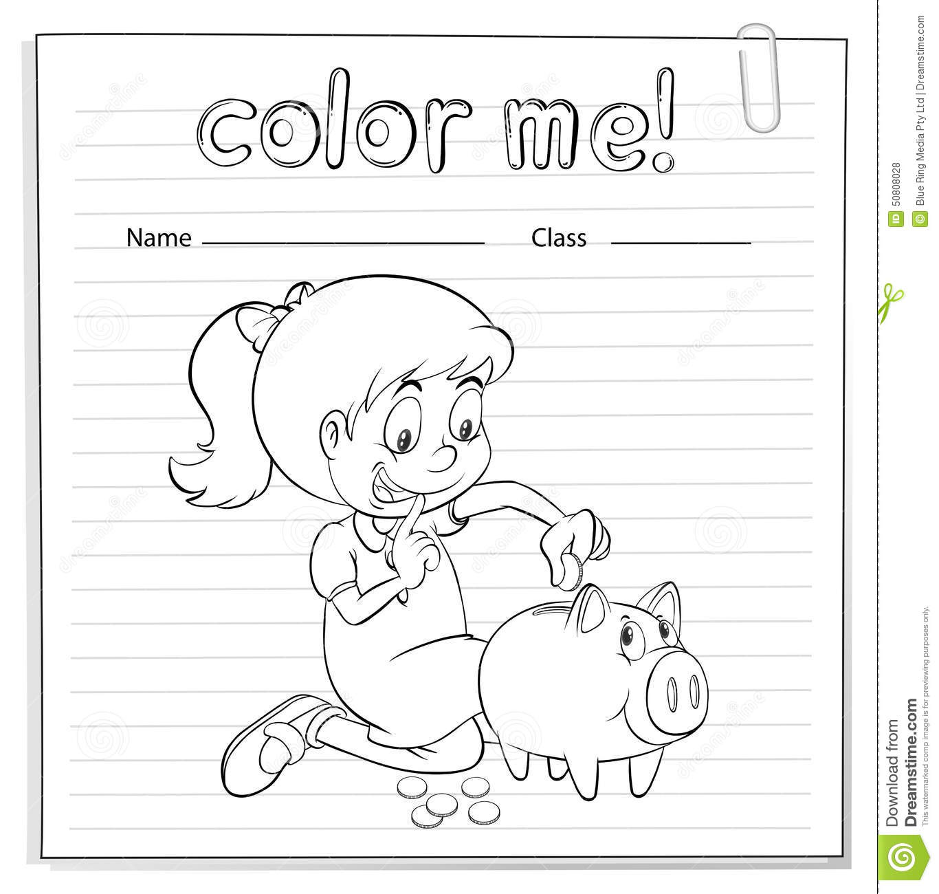 Worksheet Showing A Thrifty Girl Stock Vector