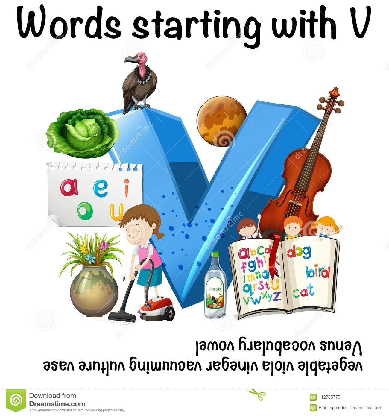Worksheet For Words Starting With V Stock Vector