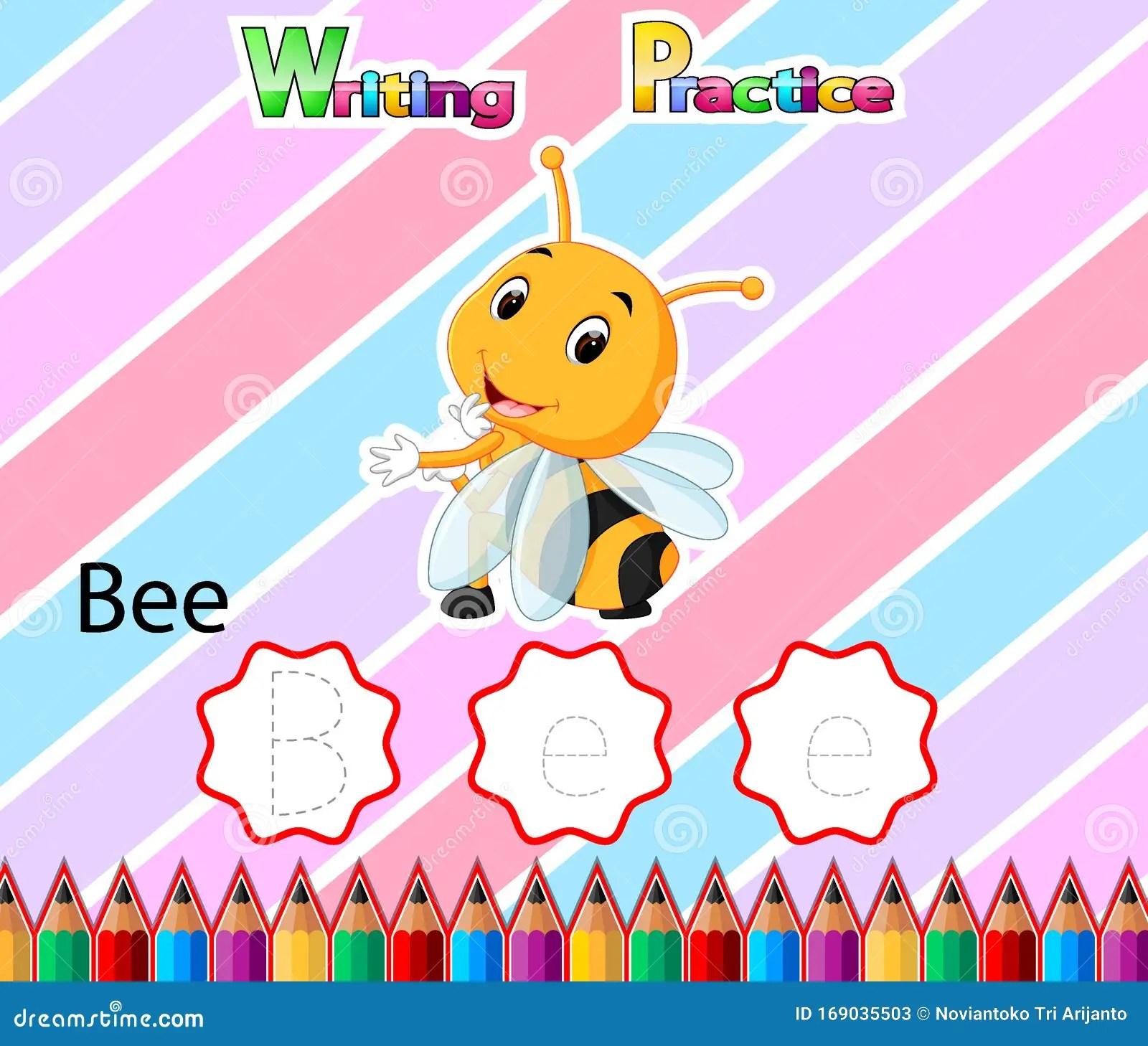 Worksheet Writing Practice Alphabet B For Bee Stock Vector