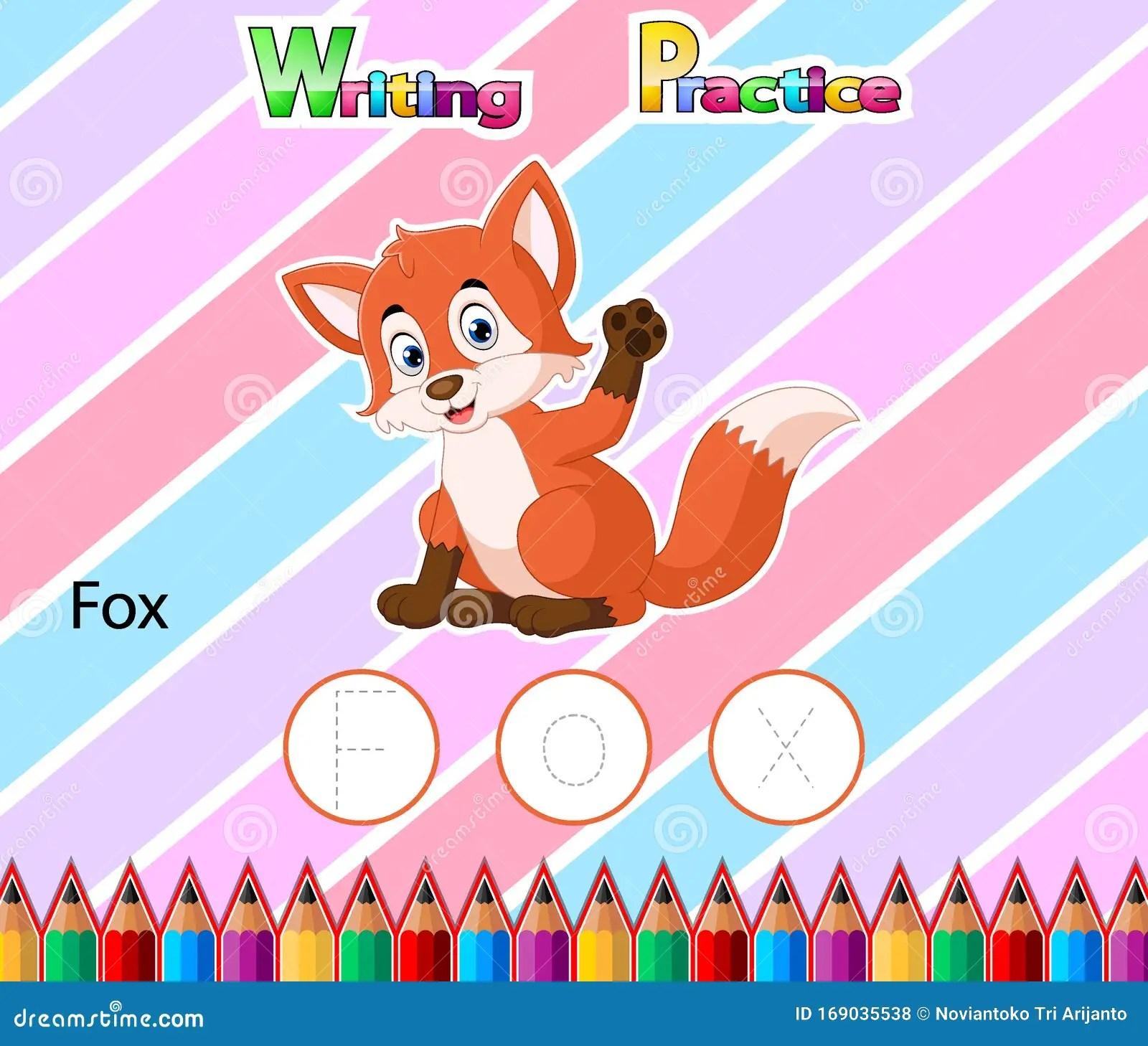 Worksheet Writing Practice Alphabet F For Fox Stock Vector
