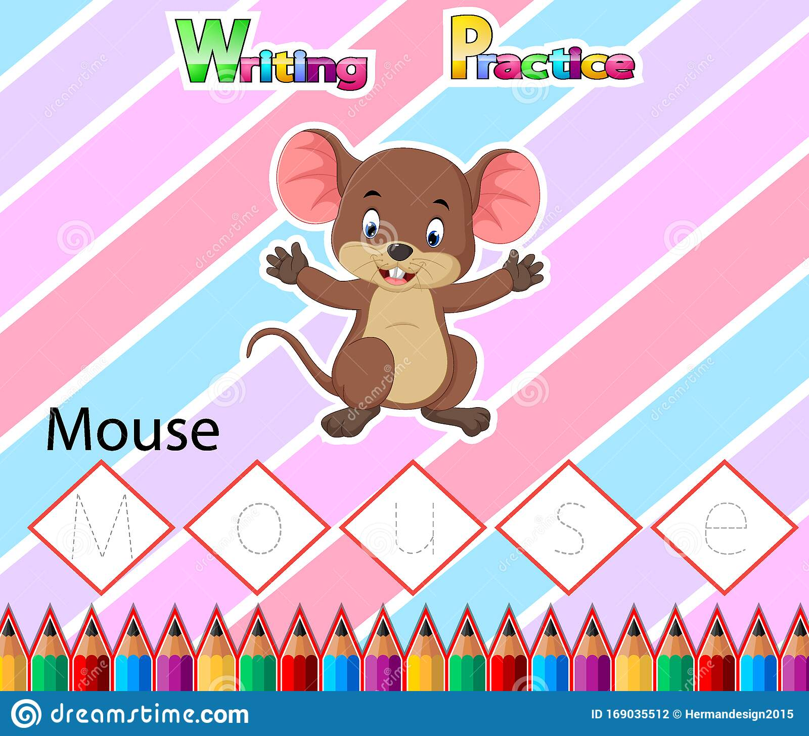 Worksheet Writing Practice Alphabet M For Mouse Stock