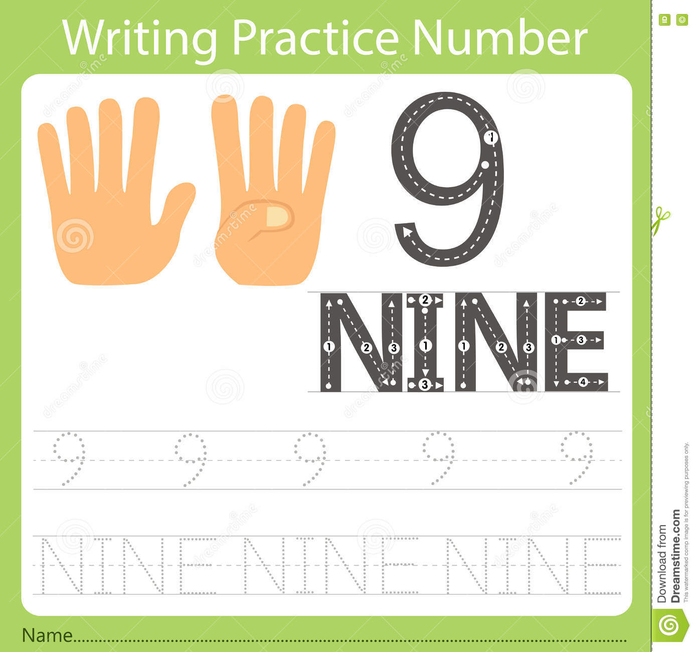 Worksheet Writing Practice Number Nine Stock Vector
