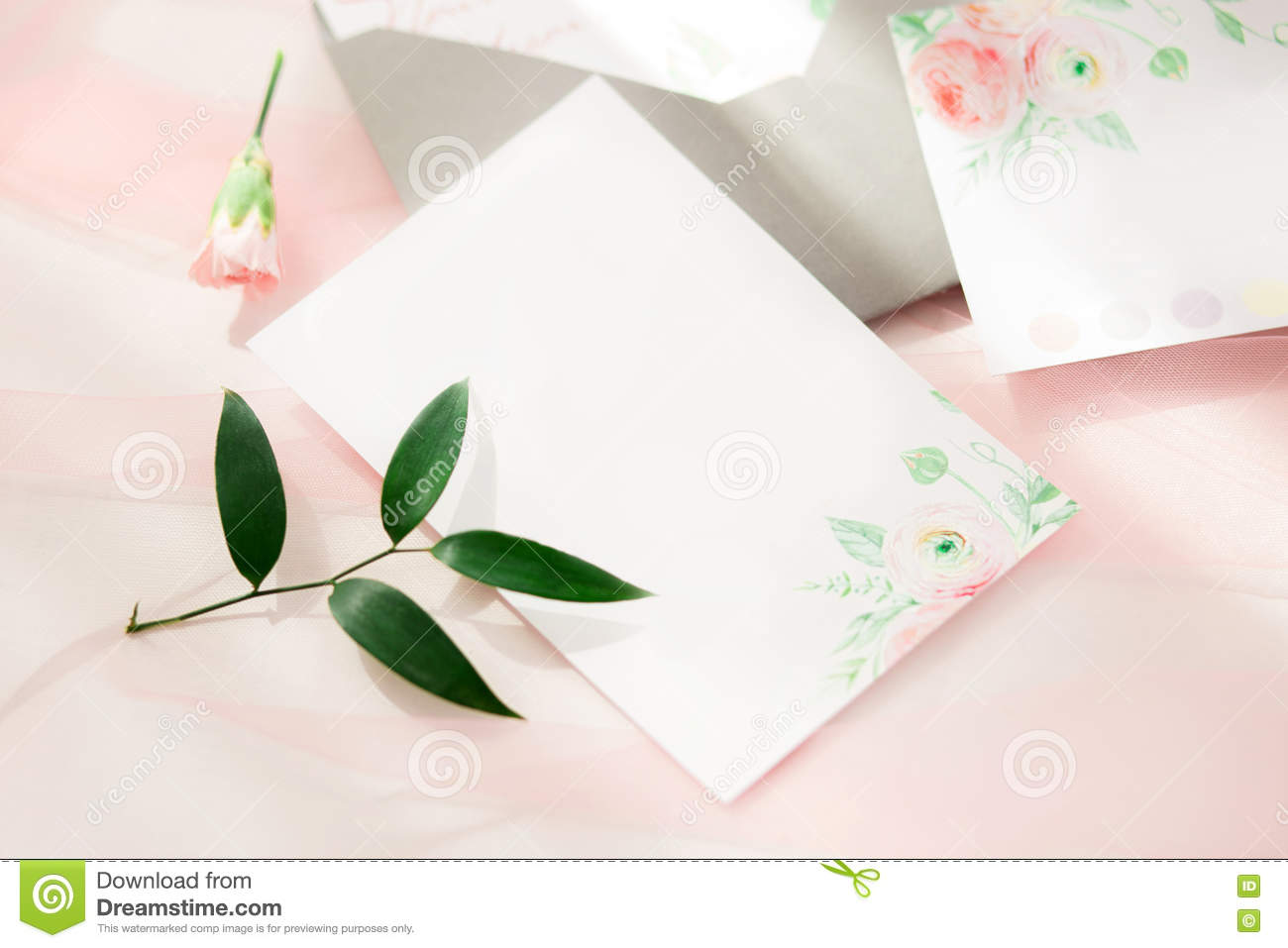 Workspace Wedding Invitation Cards Royalty Free Stock
