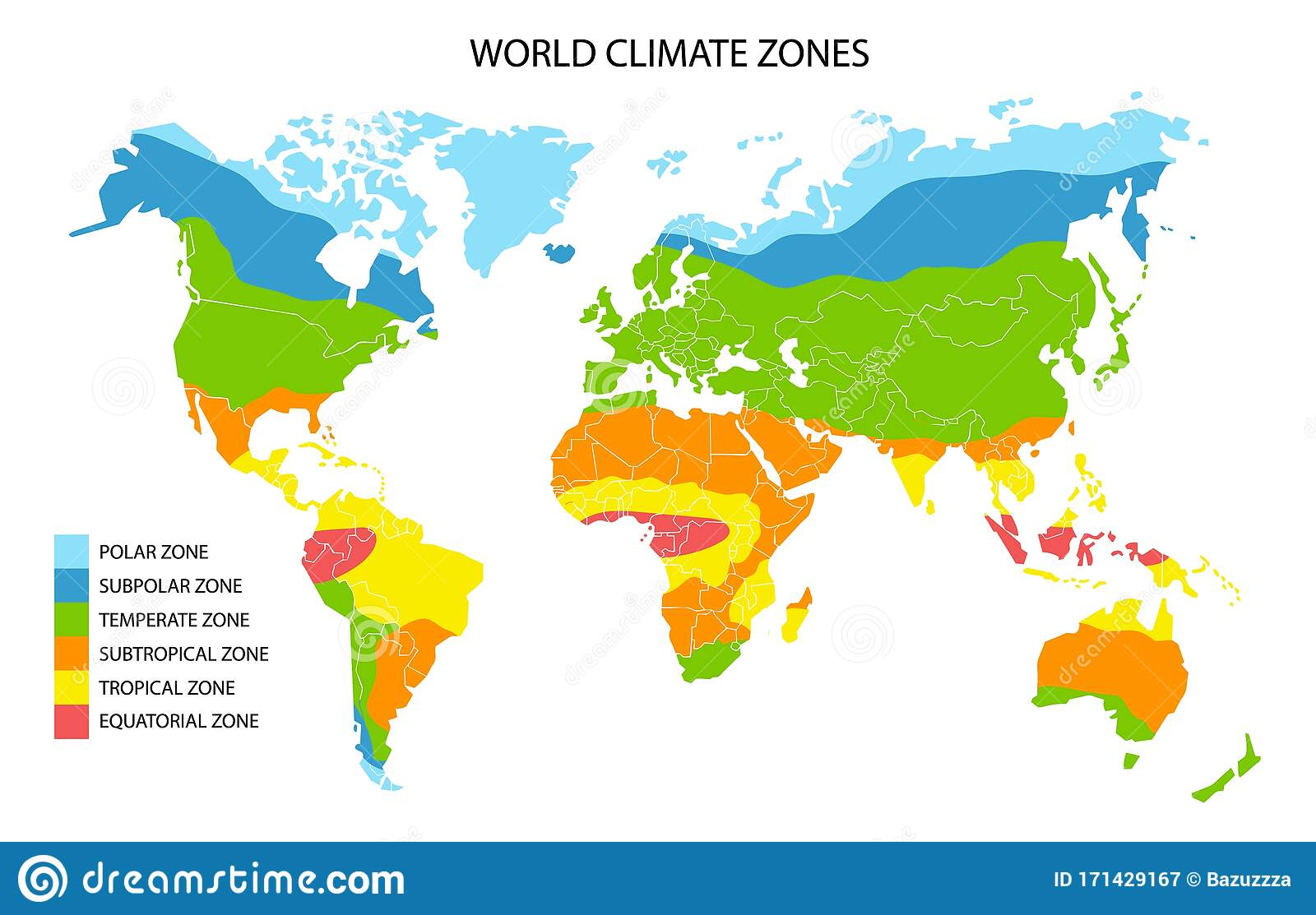 World Climate Zones Map Vector Geographic Infographics