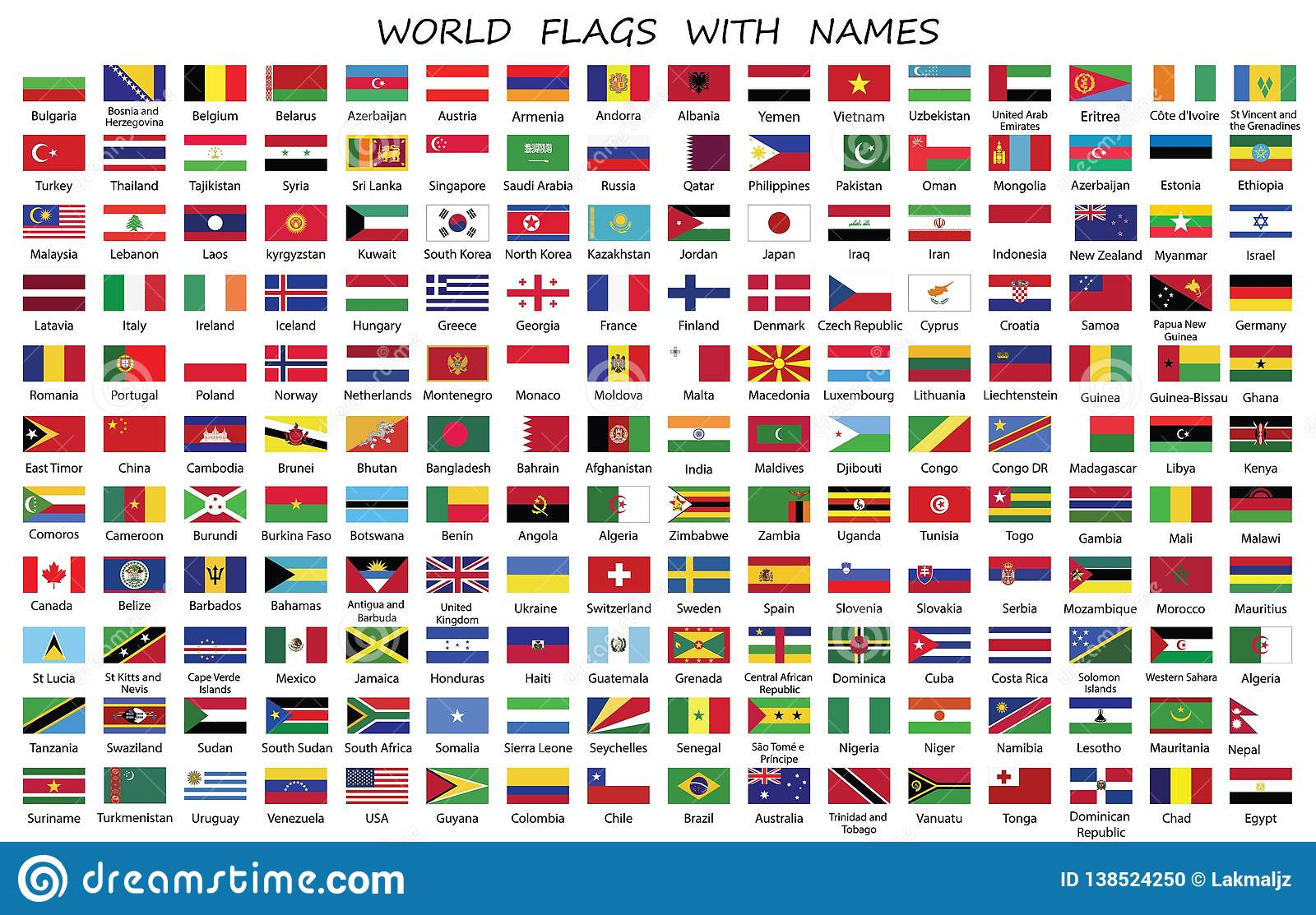 world countries flags with