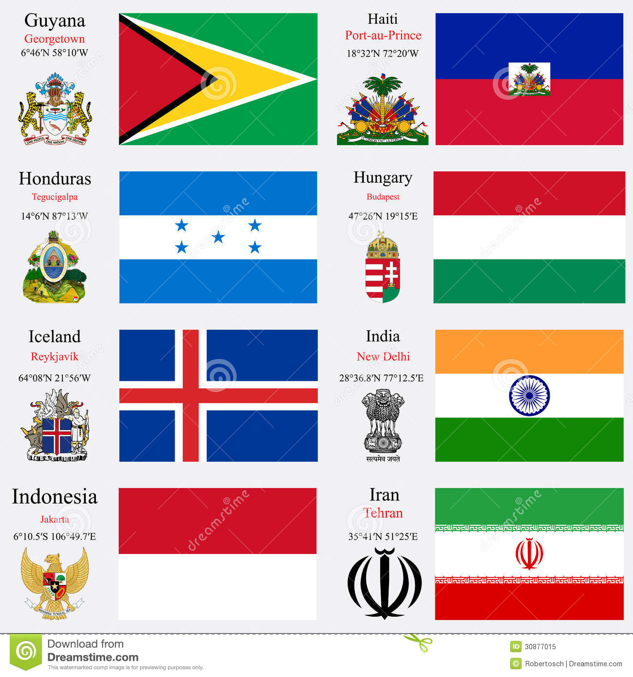 World Flags And Capitals Set 10 Stock Vector