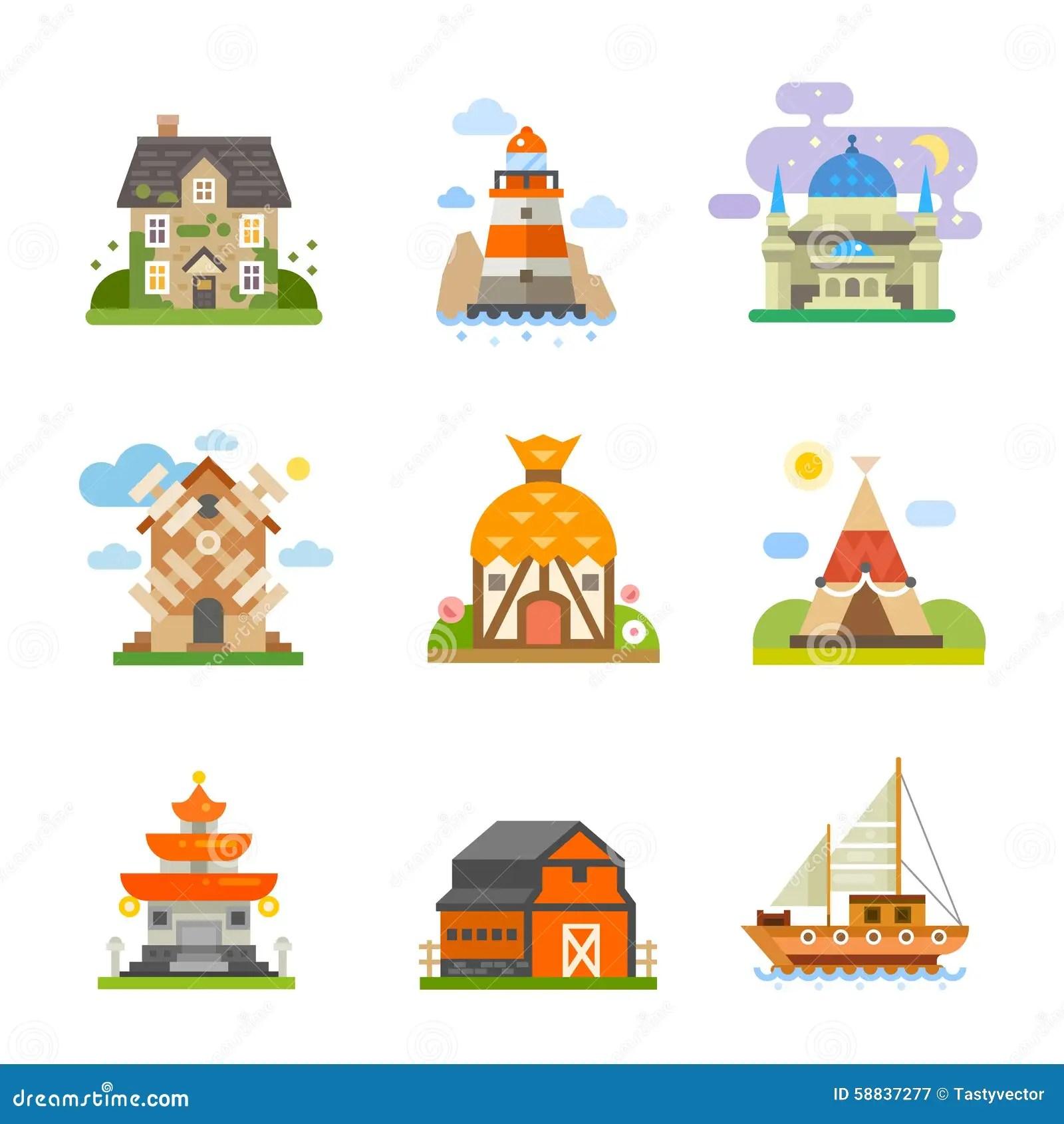 World Houses Stock Vector Illustration Of Cute