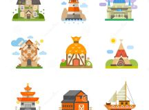 World houses stock vector. Image of cute, architecture ...